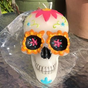 Sugar Skull Large Candle Halloween - Unscented